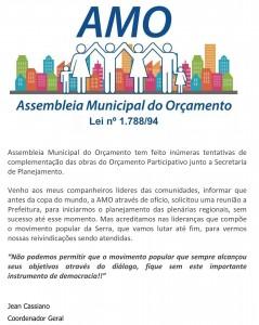 Comunicado da AMO – Assembleia do Orçamento Participativo da Serra