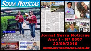 Read more about the article Jornal Serra Notícias – Ano I – Nº 0007 – 23/09/2016