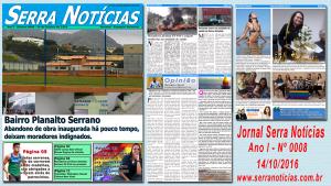 Jornal Serra Notícias – Ano I – Nº 0008 – 14/10/2016