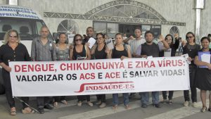 Read more about the article ACE e ACS da Serra realizam protesto em frente à Secretaria de Saúde do Município